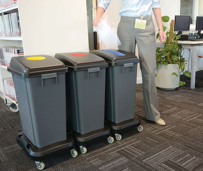 Colour doded bins for safe waste disposal